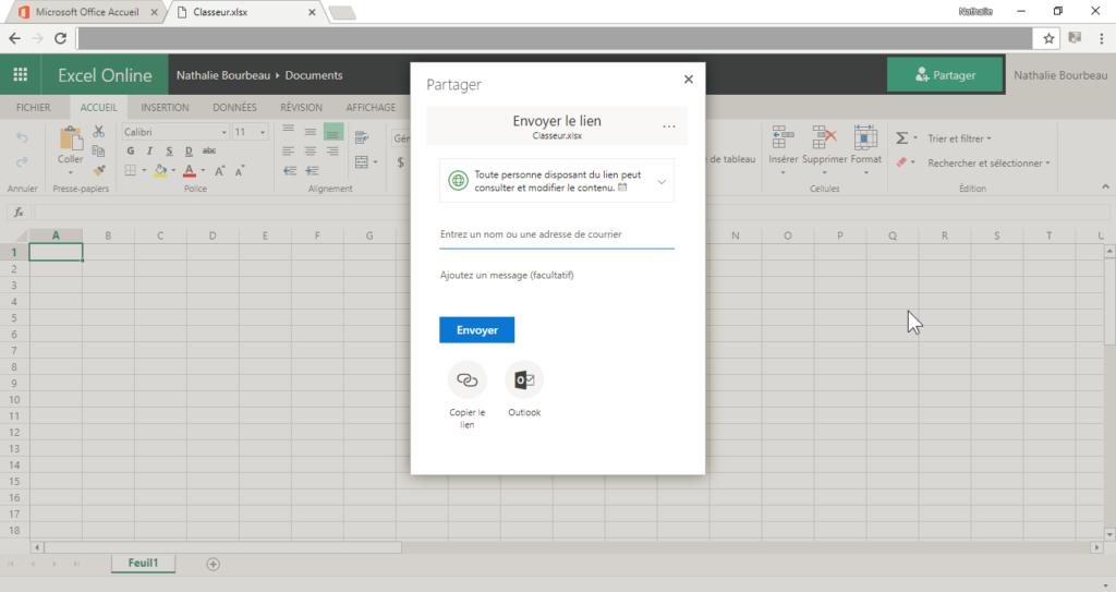 Partager un classeur Excel en ligne, travail en temps réel.